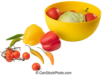 Isolated vegetables. Various fresh vegetables - tomato, Chile pepper, bell pepper, cabbage in plastic bowl isolated on white background