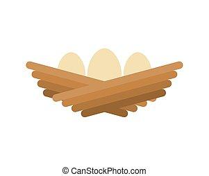 isolated., vejce, ilustrace, karikatura, vektor, hnízdo