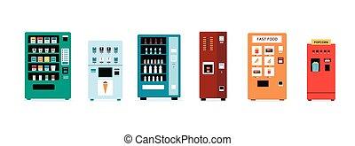 Isolated vending machine set with snacks, fast food, ice cream, popcorn