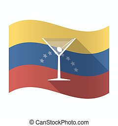 Isolated Venezuela flag with a cocktail glass