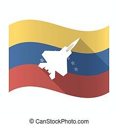 Isolated Venezuela flag with a combat plane