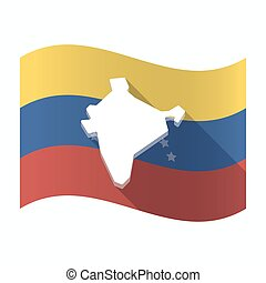 Isolated Venezuela flag with a map of India