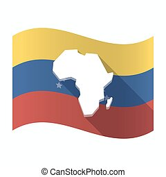 Isolated Venezuela flag with  a map of the african continent