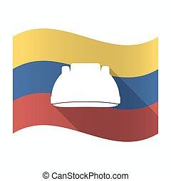 Isolated Venezuela flag with a work helmet