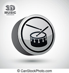 isolated., vetorial, tambor, 3d, ícone