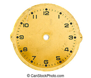 isolated vintage and grunge clock dial