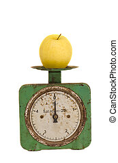 isolated vintage and grunge scale with apple