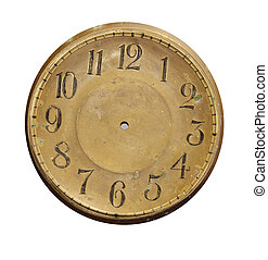 isolated vintage brass clock-face - isolated on white and ...