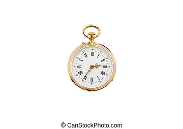 Isolated vintage gold pocket watch
