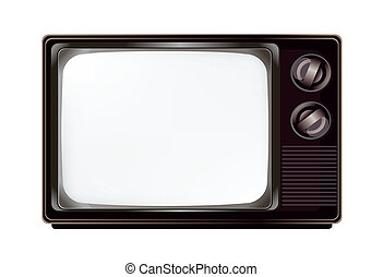 Isolated vintage television with empty screen mockup template