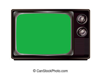 Isolated vintage television with green screen mockup template
