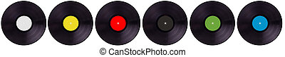Isolated vinyl records collection. Top view.
