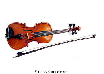 Isolated violin and bow.