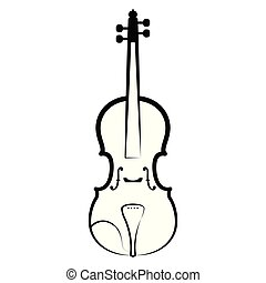 Isolated violin outline. Musical instrument