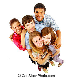 isolated., vrolijk, mensen., groep, jonge