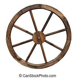 a decorative wagon wheel isolated on white background