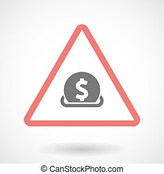 Isolated warning sign icon with a dollar coin entering in a moneybox