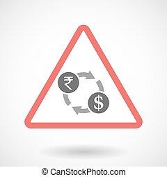 Isolated warning sign icon with a rupee and dollar exchange sign