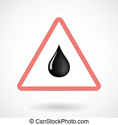 Isolated warning sign icon with  an oil drop icon