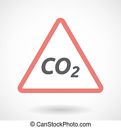 Isolated warning signal with    the text CO2