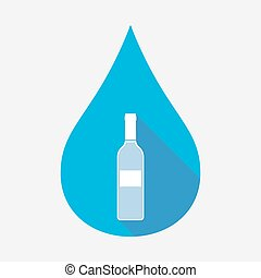 Isolated water drop with a bottle of wine