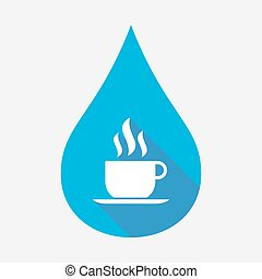 Isolated water drop with a cup of coffee
