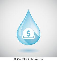 Isolated water drop with  a dollar coin entering in a moneybox