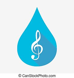 Isolated water drop with a g clef - Illustration of an...