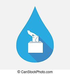 Isolated water drop with  a hand inserting an envelope in a ballot box