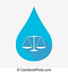 Isolated water drop with a justice weight scale sign -...