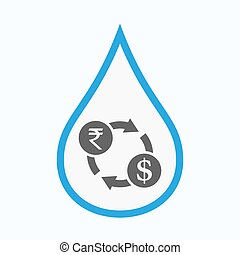 Isolated water drop with  a rupee and dollar exchange sign