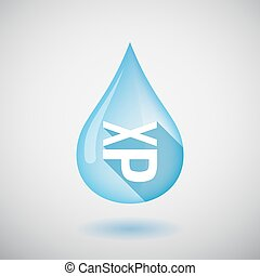 Isolated water drop with  a Tongue sticking text face emoticon