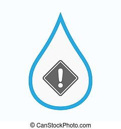 Isolated water drop with a warning road sign