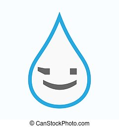 Isolated water drop with  a wink text face emoticon