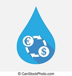 Isolated water drop with  an euro dollar exchange sign