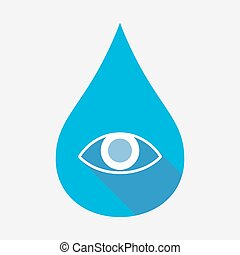 Isolated water drop with an eye