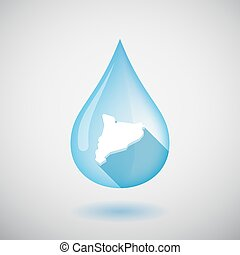 Isolated water drop with  the map of Catalonia