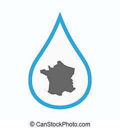 Isolated water drop with  the map of France