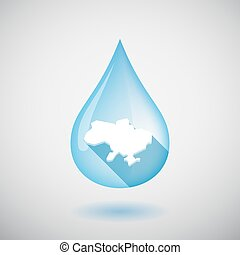 Isolated water drop with  the map of Ukraine