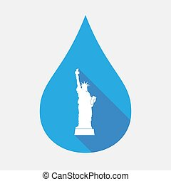 Isolated water drop with  the Statue of Liberty