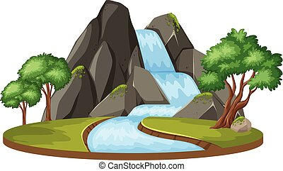 Isolated water fall landscape
