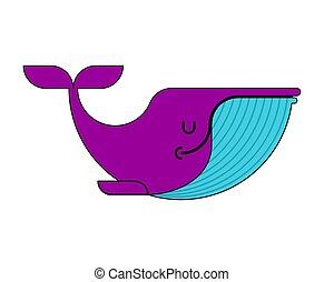 isolated., water., ilustración, grande, vector, debajo, mamífero, ballena