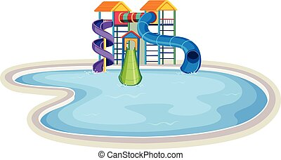 Isolated water park on white background