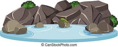 Isolated water pond on white background