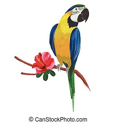 Isolated watercolor parrot with tropical flowers and leaves.