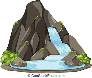 Isolated waterfall on white background