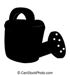 Isolated watering can silhouette