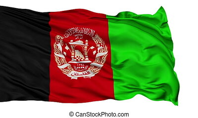 Isolated Waving National Flag of Afghanistan