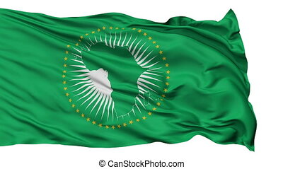Isolated Waving National Flag of African Union - African...