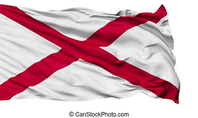 Isolated Waving National Flag of Alabama